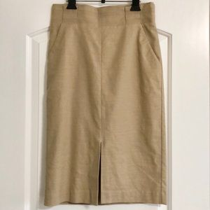 Ann Taylor Pleated Waits Linen Twill Pencil Skirt